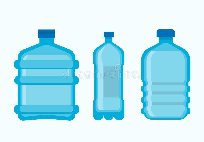 Bouteilles en plastique avec l'ensemble frais propre de l'eau minérale illustration stock
