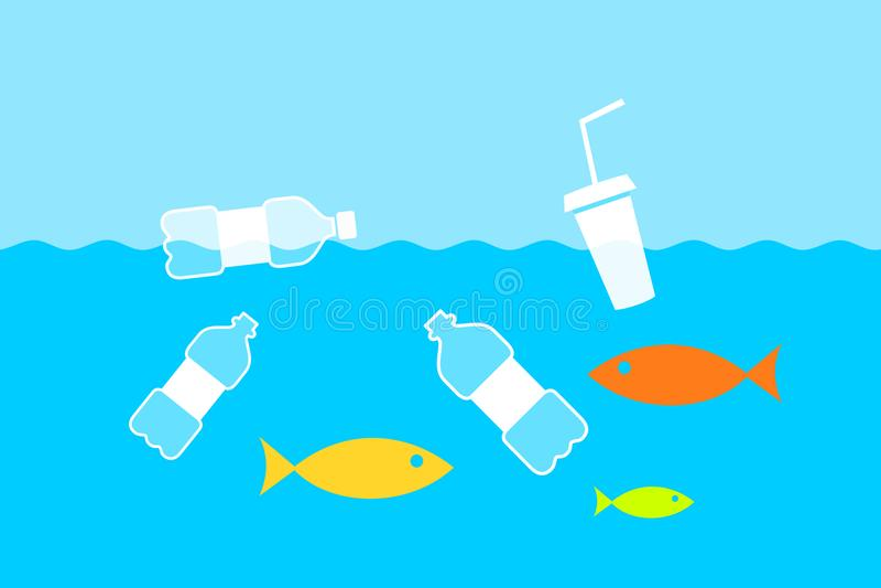Bouteilles en plastique dans la rivière, la mer et l'océan illustration libre de droits