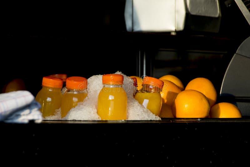 Bouteilles en plastique de jus d'orange avec le fruit en glace image libre de droits