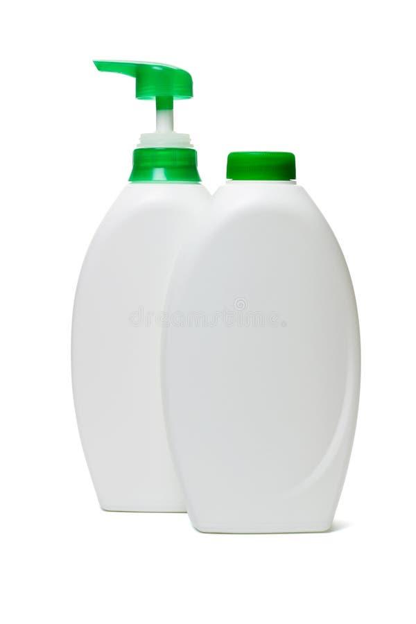 Bouteilles en plastique de savon liquide photos stock