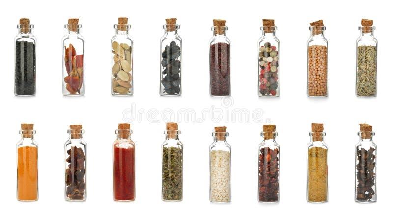 Bouteilles en verre avec différentes épices et herbes images libres de droits