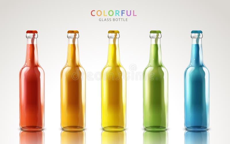 Bouteilles en verre colorées illustration libre de droits