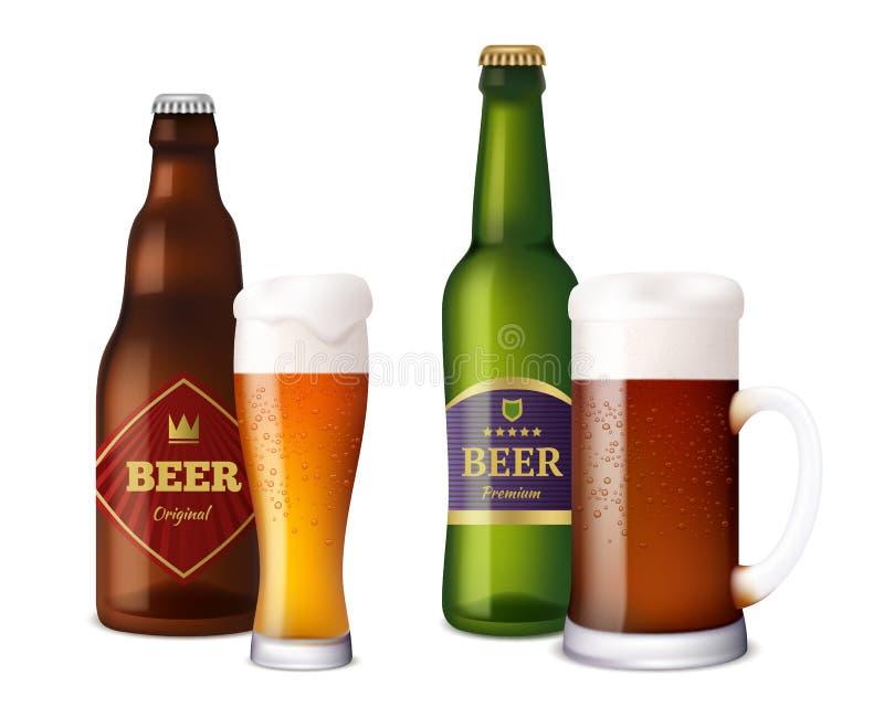 Bouteilles en verre de bière La tasse et les navires pour la bière froide fraîche brun clair de métier de boissons alcoolisées av illustration de vecteur