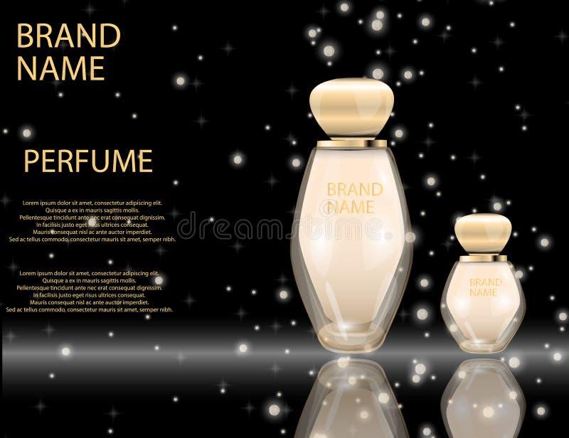 Bouteilles en verre de parfum fascinant sur les effets de scintillement illustration libre de droits