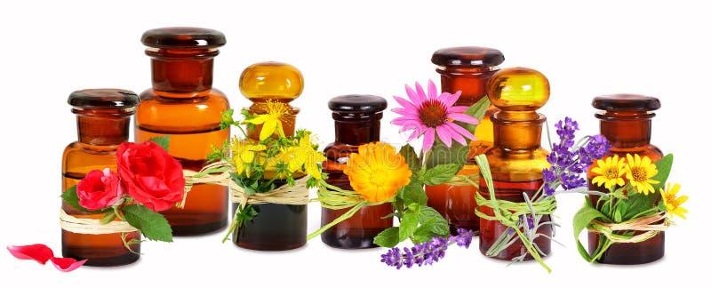Bouteilles en verre de vieux pharmacien avec des plantes médicinales images libres de droits