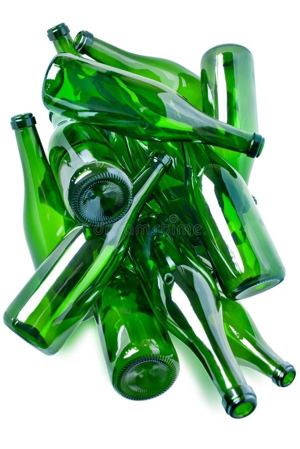 bouteilles en verre vertes photographie stock libre de droits