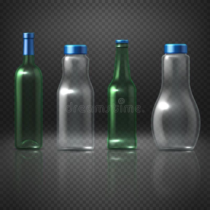 Bouteilles en verre vides de vecteur pour les boissons alcooliques et sans alcool, bière, vin, vodka, jus illustration stock