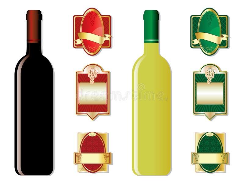 Bouteilles et étiquettes de vin illustration de vecteur