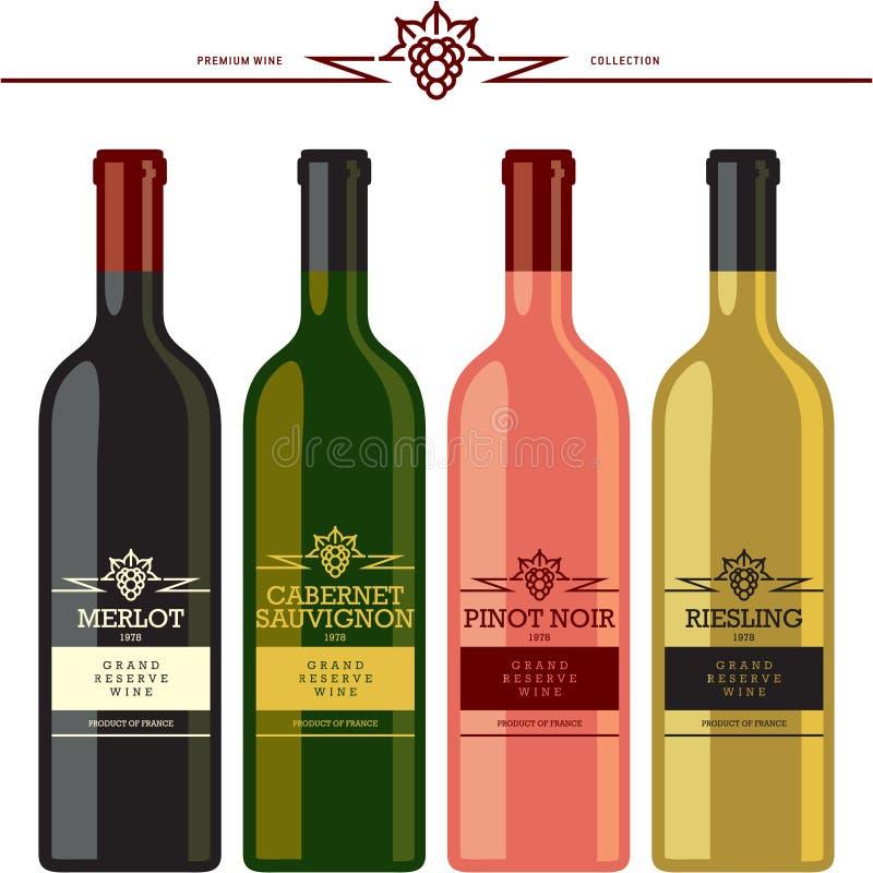 Bouteilles et labels de vin illustration de vecteur