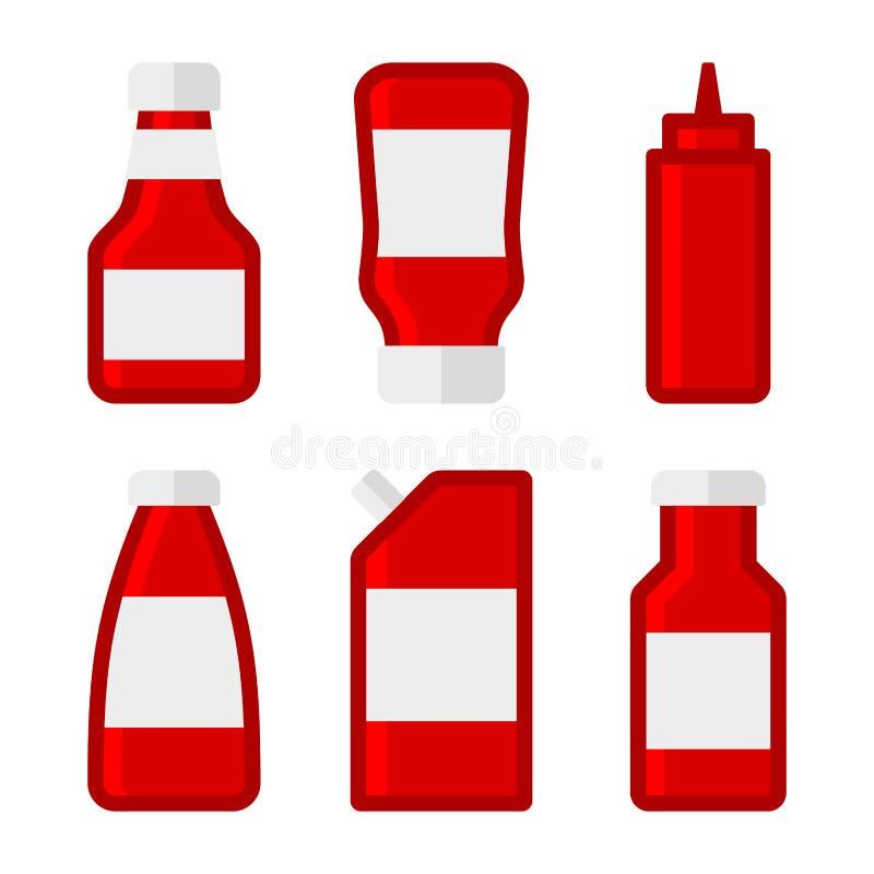 Bouteilles et paquets de sauces à ketchup réglés Vecteur illustration stock