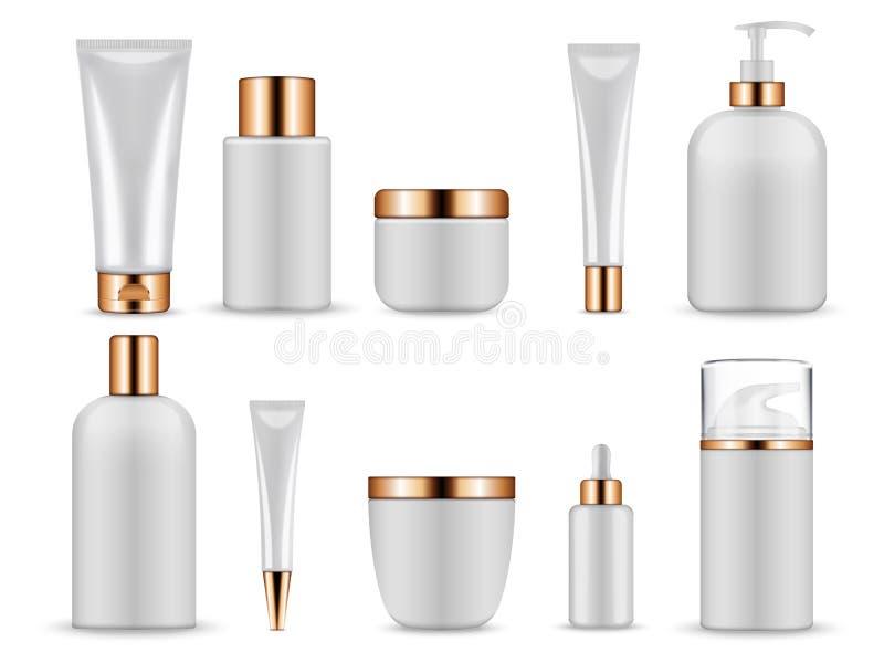 Bouteilles et tubes vides blancs en plastique pour des cosmétiques illustration libre de droits