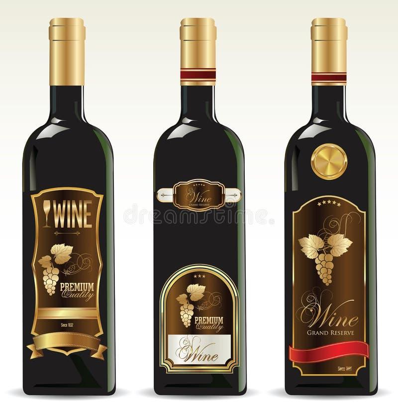 Bouteilles noires pour le vin avec des labels d'or et de brun illustration de vecteur
