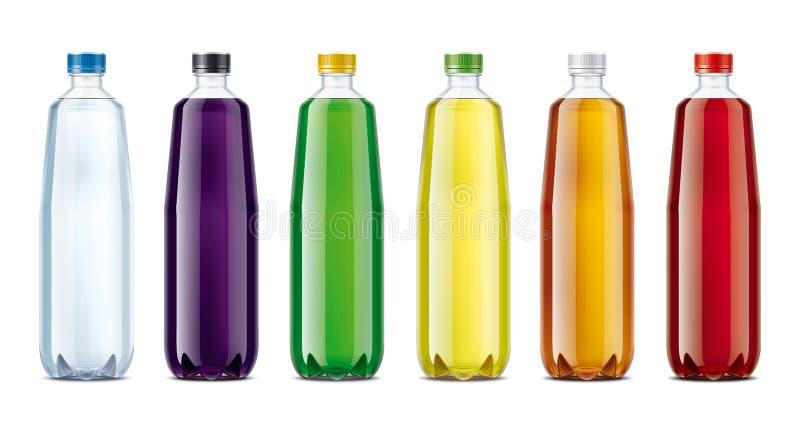 Bouteilles pour l'eau, le jus, la limonade et d'autres boissons images libres de droits