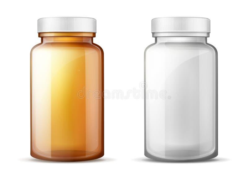 Bouteilles pour l'ensemble réaliste de vecteur de médecines illustration libre de droits