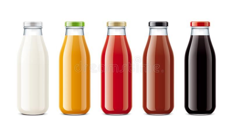 Bouteilles pour le jus, des boissons de laiterie et autre image stock