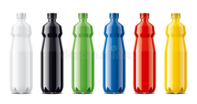 Bouteilles pour le jus, des boissons de laiterie et autre Version colorée et non transparente images stock