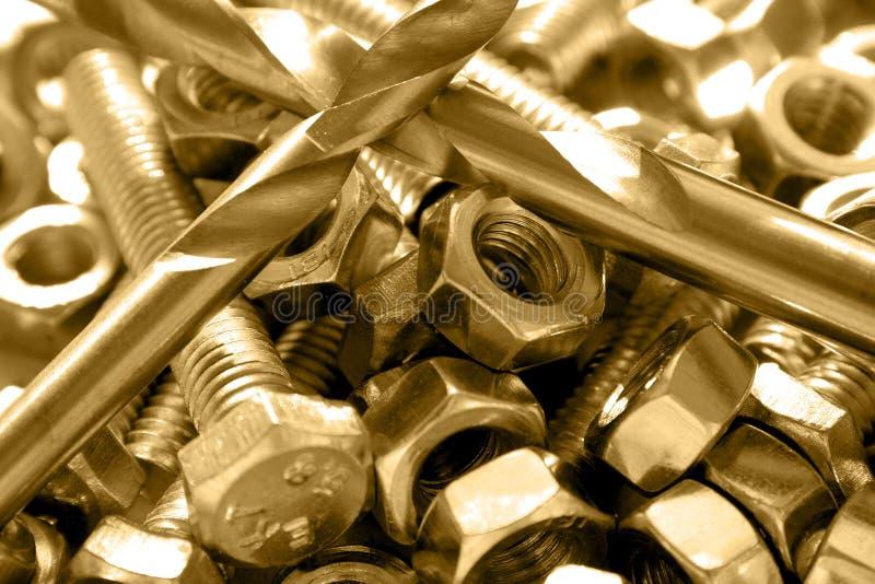 Bouten, noten en boren royalty-vrije stock fotografie