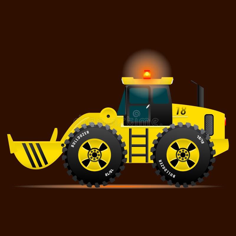Bouteur jaune avec un seau sur un fond rouge Illustration de vecteur illustration stock