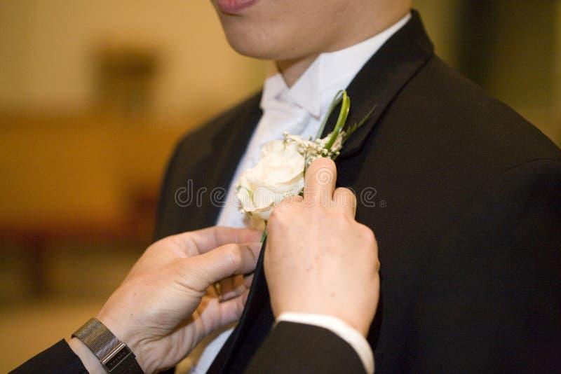 Boutionniere del novio imagenes de archivo