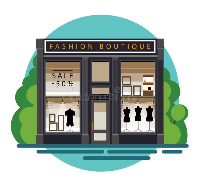 Boutique. Facade. Fashion . Illustration of a fashion  in a flat style. Beautiful fashion  with clothes in the shop window.  showscase with dummy. Vector
