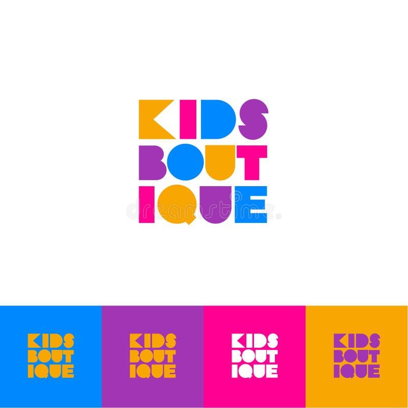 Boutique d'enfants Logo pour le magasin d'habillement des enfants Lettres décoratives colorées inscrites dans une place illustration libre de droits
