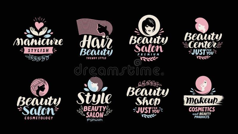 Boutique de beauté, salon, cosmétique ou logo de maquillage Manuscrit dans un beau texte calligraphique illustration stock