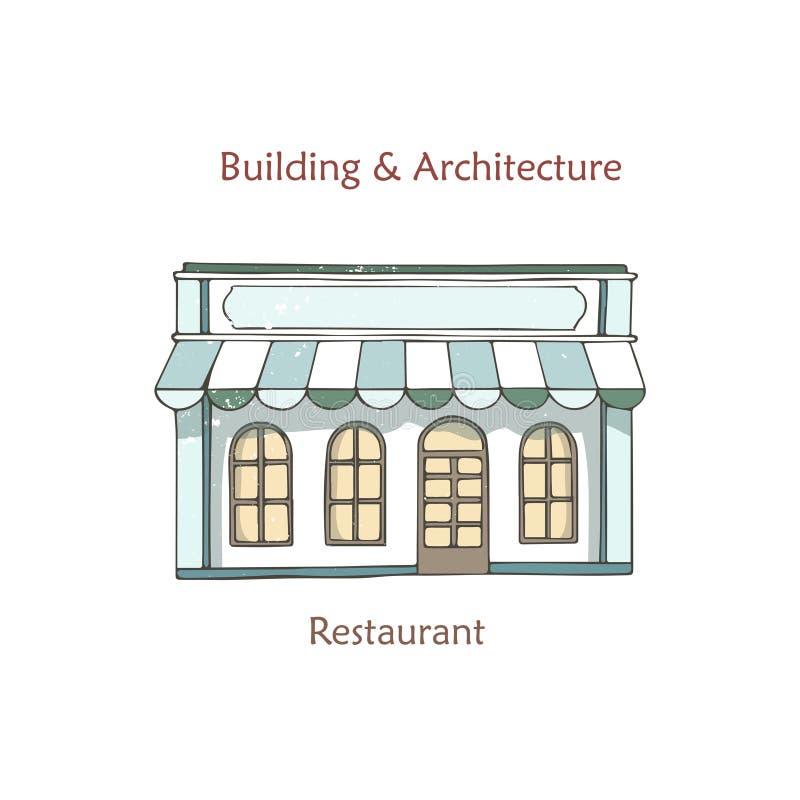 Boutique de café, devanture de magasin Vecteur Café, avant de magasin de vintage Bâtiment de façade avec la fenêtre Rétro archite illustration stock
