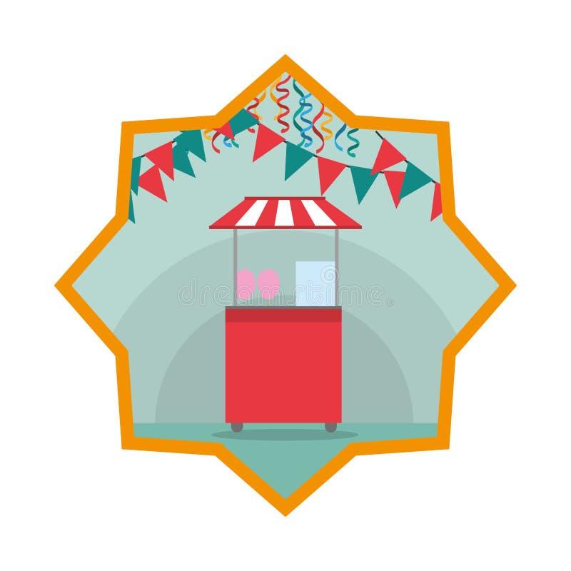 Boutique de carnaval avec l'étoile d'intérieur de drapeaux de partie illustration de vecteur
