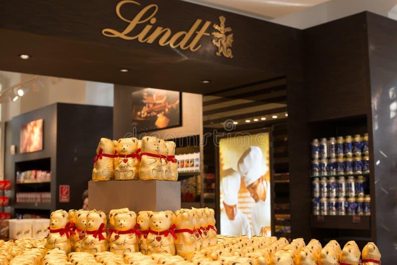 Boutique de chocolat de Lindt à Vienne, Autriche images libres de droits