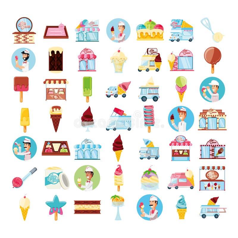 Boutique de crème glacée  illustration de vecteur