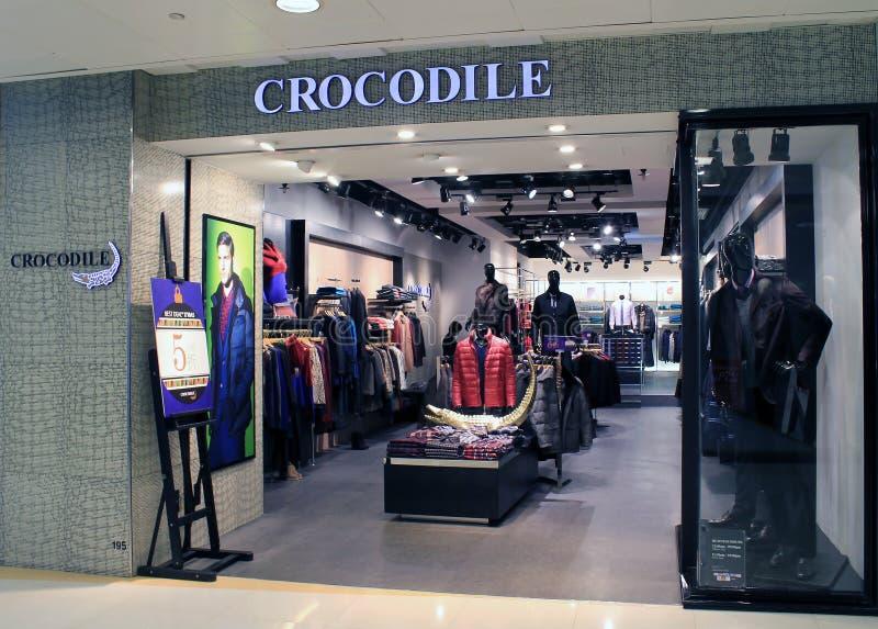 Boutique de crocodile à Hong Kong photographie stock libre de droits