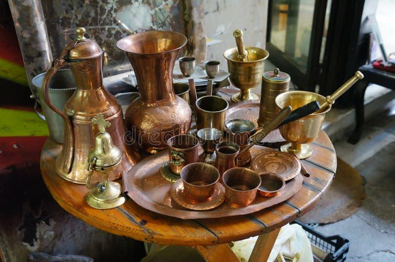 Boutique de cuivre à Salonique image stock