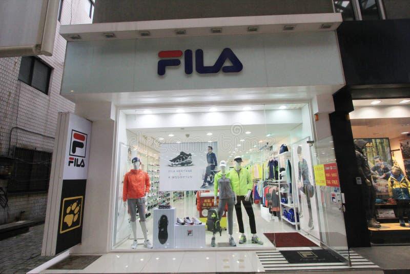 Boutique de Fila en Corée du Sud image stock