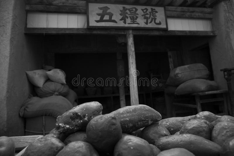 Boutique de grain et de riz photo stock