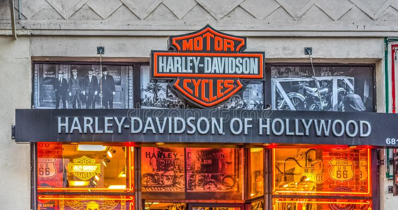 Boutique de Harley Davidson dans Hollywood Boulevard photo libre de droits