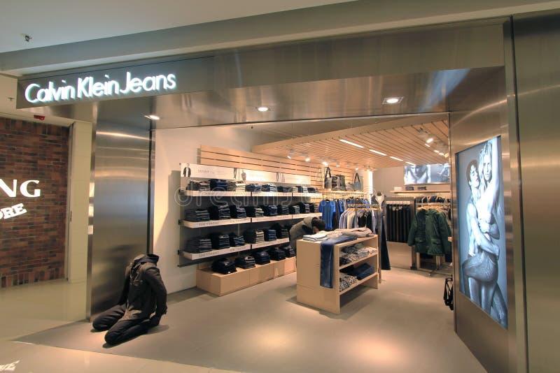 Boutique de jeans de Calvin Klein à Hong Kong image libre de droits