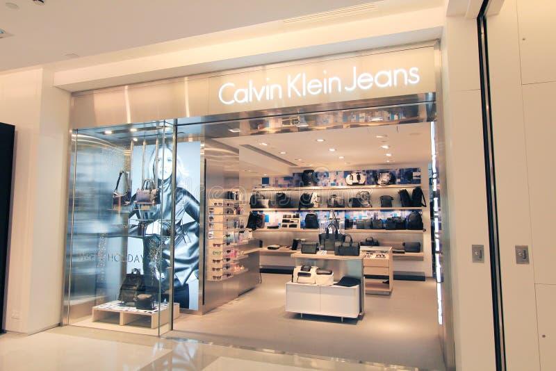 Boutique de jeans de Calvin Klein à Hong Kong photos libres de droits