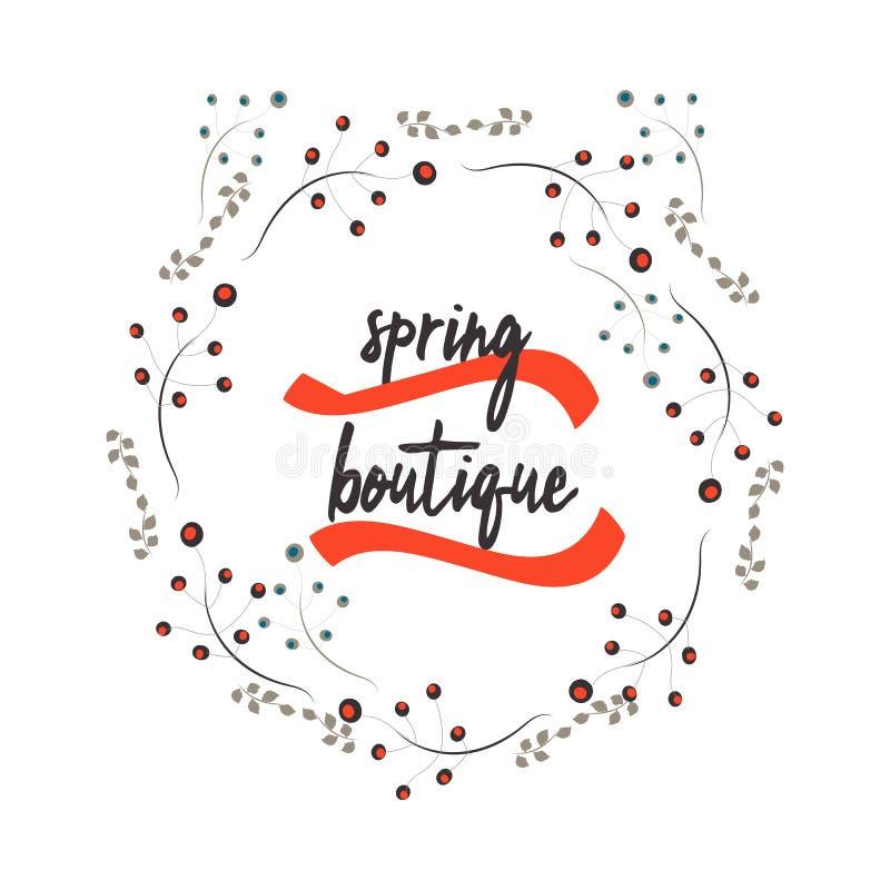 Boutique de la primavera Ilustración drenada mano Vector el diseño para el cartel, tarjeta, banderas, cupón Tipografía de la vent stock de ilustración