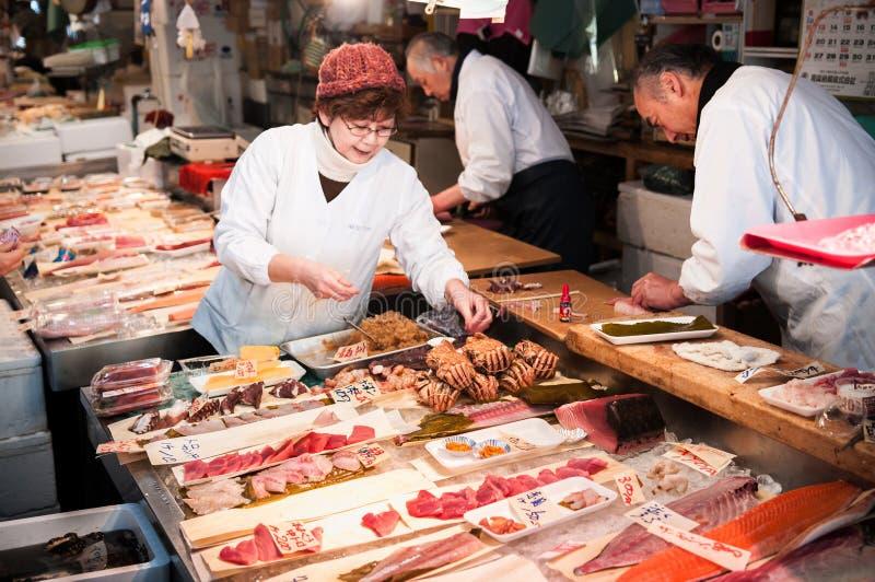 Boutique de sashimi chez Furukawa Fish Market, Aomori, Japon photos stock