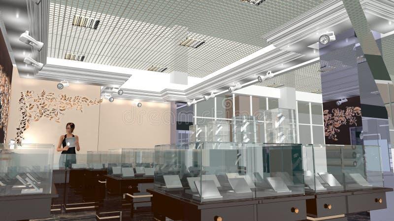 Boutique dei gioielli dei mobili d 39 ufficio illustrazione for Stock mobili ufficio