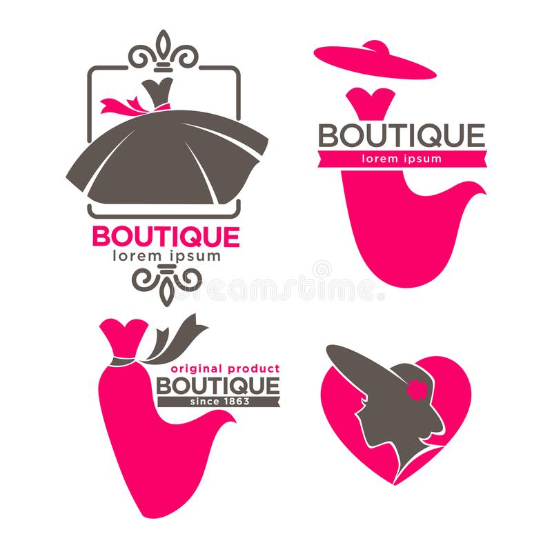 Boutique del vestito o icone di vettore del salone dell'atelier del vestito e del cappello da modo messe royalty illustrazione gratis