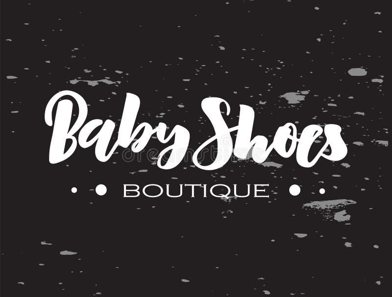 Boutique delle scarpe di bambino dell'iscrizione della mano sulla lavagna Calligrafia moderna illustrazione di stock
