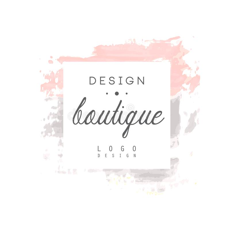 Boutique design logo, badge for fashion clothes shop, beauty salon. Or cosmetician watercolor vector Illustration on a white background royalty free illustration