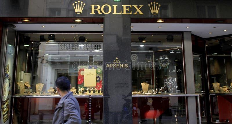 Boutique do luxo de Rolex fotografia de stock