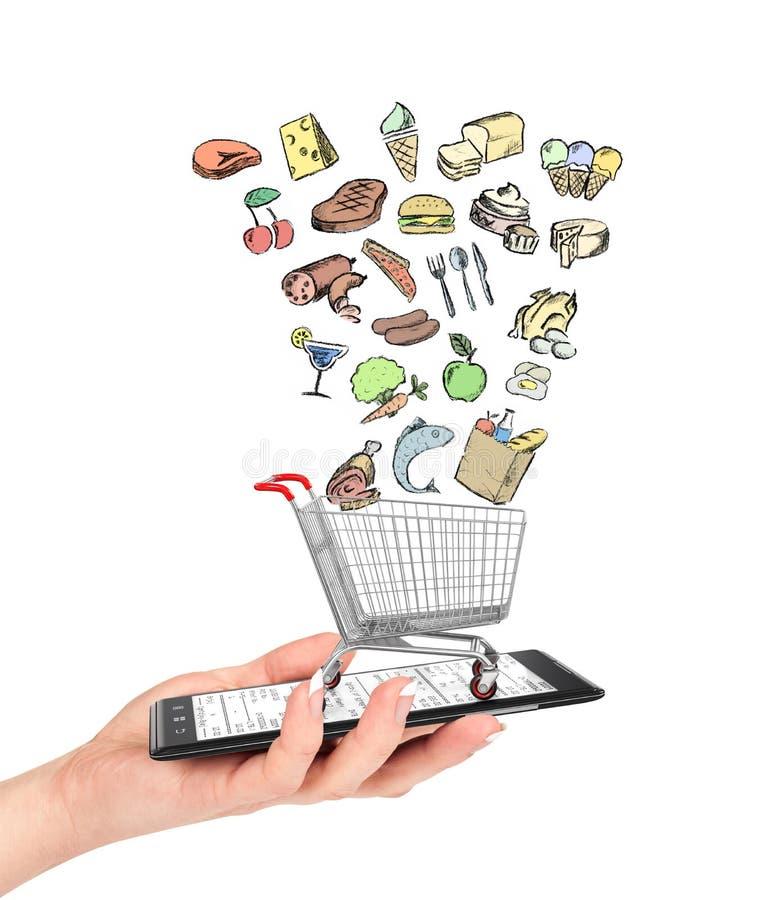 Boutique en ligne de concept de nourritures illustration libre de droits