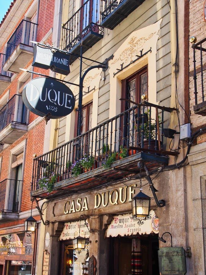 Boutique et immeuble, Ségovie historique, Espagne photos stock