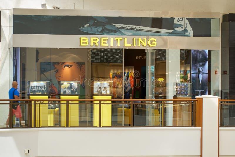 Boutique famoso de Breitling fotografía de archivo