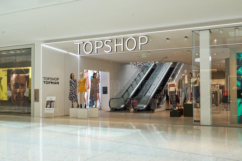 Boutique famoso de Topshop foto de stock