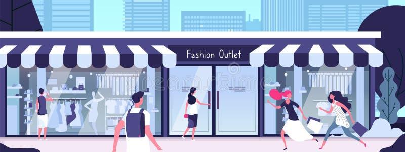 Boutique fora Tomada da forma com os manequins da loja nas janelas e nas meninas de exposição que andam ao longo da rua Vetor ilustração stock