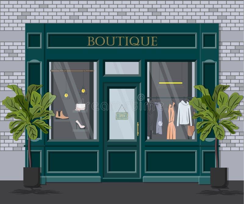 Boutique gráfico del vintage de la fachada del vector Ejemplo detallado de una tienda de ropa en un estilo plano Escaparate al po ilustración del vector